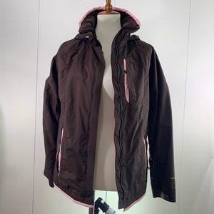 Columbia girls 14/16 windbreaker brown pink hood